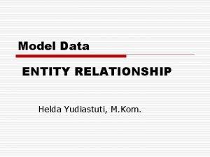 Model Data ENTITY RELATIONSHIP Helda Yudiastuti M Kom
