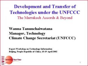 Development and Transfer of Technologies under the UNFCCC