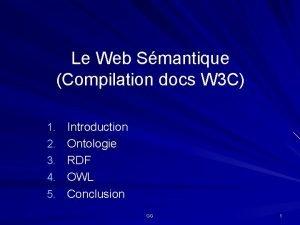Le Web Smantique Compilation docs W 3 C
