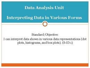 Data Analysis Unit Interpreting Data in Various Forms