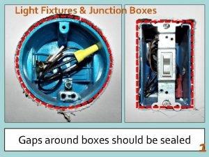 Light Fixtures Junction Boxes Gaps around boxes should
