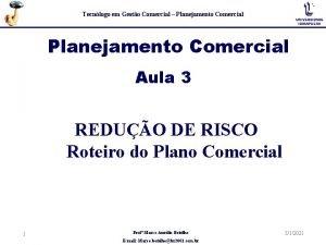 Tecnlogo em Gesto Comercial Planejamento Comercial Aula 3