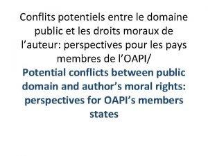 Conflits potentiels entre le domaine public et les