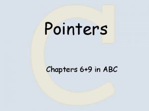 Pointers Chapters 69 in ABC Pointers int a