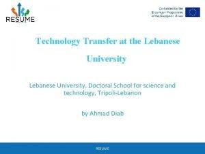 Technology Transfer at the Lebanese University Doctoral School