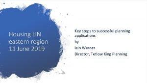 Housing LIN eastern region 11 June 2019 Key