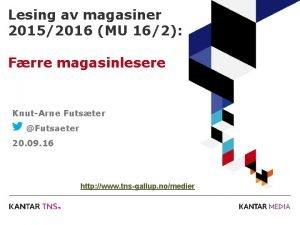 Lesing av magasiner 20152016 MU 162 Frre magasinlesere