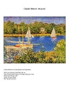 Claude Monet Das Seinebecken bei Argenteuil 1874 Sn