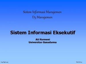 Sistem Informasi Manajemen D 3 Manajemen Sistem Informasi