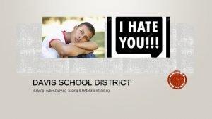 Bullying cyberbullying hazing Retaliation training Bullying is unwanted