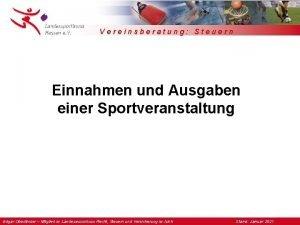 Vereinsberatung Steuern Einnahmen und Ausgaben einer Sportveranstaltung Edgar