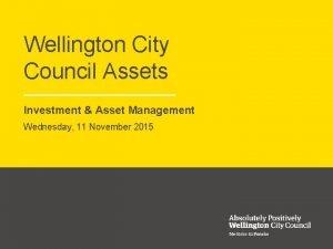 Wellington City Council Assets Investment Asset Management Wednesday