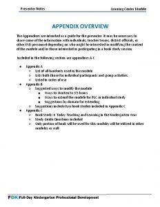 Presenter Notes Learning Center Module APPENDIX OVERVIEW The