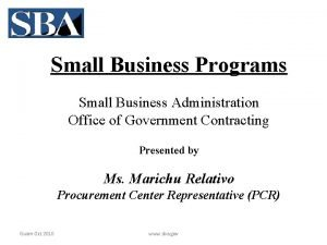 Small Business Programs Small Business Administration Office of