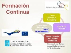 Formacin Continua Cursos Comenius Grundtvig Convocatoria nacional de