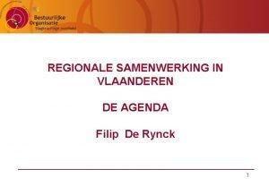 REGIONALE SAMENWERKING IN VLAANDEREN DE AGENDA Filip De