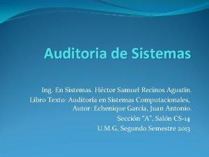 Auditoria de Sistemas Ing En Sistemas Hctor Samuel