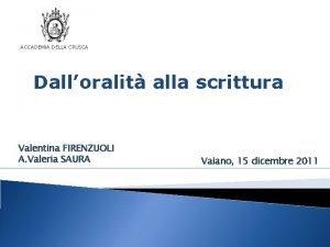 ACCADEMIA DELLA CRUSCA Dalloralit alla scrittura Valentina FIRENZUOLI