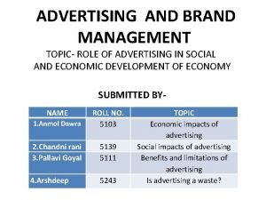 ADVERTISING AND BRAND MANAGEMENT TOPIC ROLE OF ADVERTISING