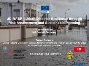 UDRASP Urban Disaster Resilience through Risk Assessment and