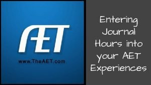 Entering Journal Hours into your AET Experiences Logging