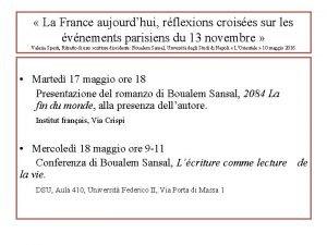 La France aujourdhui rflexions croises sur les vnements