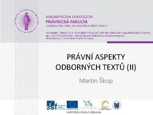 PRVN ASPEKTY ODBORNCH TEXT II Martin kop Svoboda