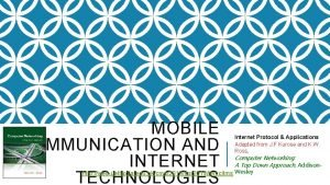 MOBILE COMMUNICATION AND INTERNET TECHNOLOGIES Internet Protocol Applications