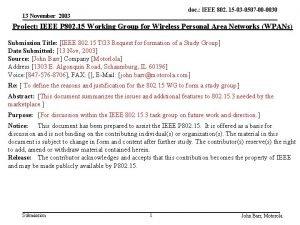 doc IEEE 802 15 03 0507 00 0030