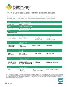 HCPCS Codes for Abbott Nutrition Enteral Formulas The