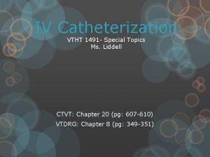 IV Catheterization VTHT 1491 Special Topics Ms Liddell