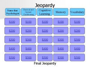 Jeopardy Classical and Operant Conditioning Cognitive Learning Memory