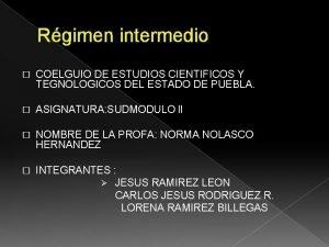 Rgimen intermedio COELGUIO DE ESTUDIOS CIENTIFICOS Y TEGNOLOGICOS