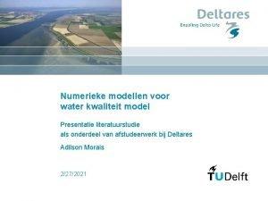 Numerieke modellen voor water kwaliteit model Presentatie literatuurstudie