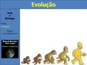 Evoluo Aula de Biologia Tema Evoluo Paulo paulobhzhotmail