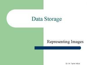 Data Storage Representing Images Dr M Tanvir Afzal