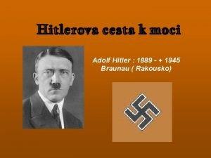 Hitlerova cesta k moci Adolf Hitler 1889 1945