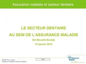 Assurance maladie et secteur dentaire LE SECTEUR DENTAIRE
