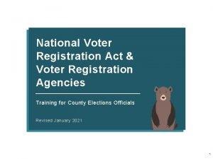 National Voter Registration Act Voter Registration Agencies Training