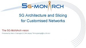 5 G Architecture and Slicing for Customised Networks
