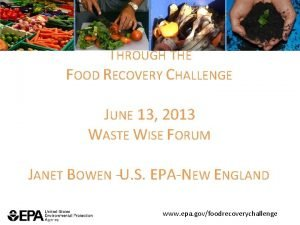 SUSTAINABLE FOOD WASTE MANAGEMENT THROUGH THE FOOD RECOVERY