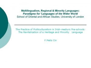 Multilingualism Regional Minority Languages Paradigms for Languages of