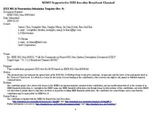 MIMO Supports for IEEE 802 16 m Broadcast
