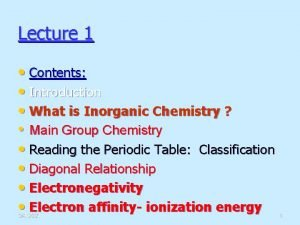 Lecture 1 Contents Introduction What is Inorganic Chemistry
