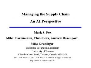 Managing the Supply Chain An AI Perspective Mark