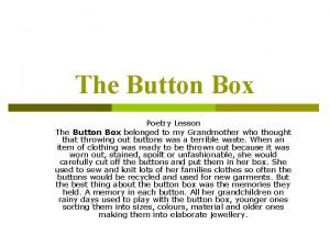 The Button Box Poetry Lesson The Button Box