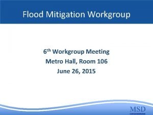 Flood Mitigation Workgroup 6 th Workgroup Meeting Metro