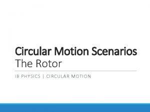 Circular Motion Scenarios The Rotor IB PHYSICS CIRCULAR