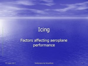 Icing Factors affecting aeroplane performance 13 June 2017