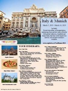 Italy Munich March 5 2019 March 16 2019